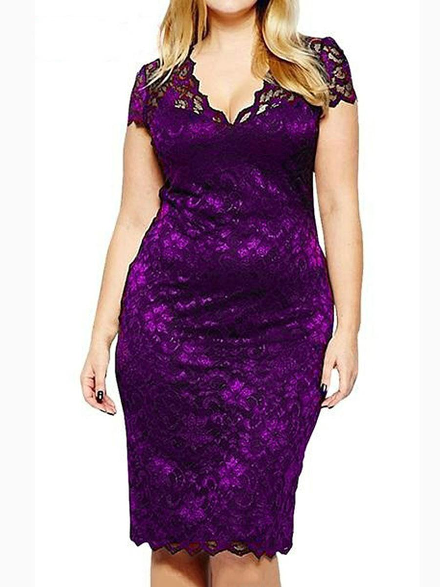 V Neck Lace Plain Plus Size Bodycon Dresses Fashionmia