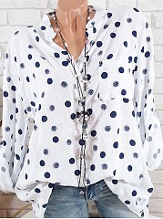 Polyester  Band Collar  Polka Dot  Roll-Up Sleeve  Long Sleeve Blouse