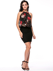 Crew Neck Patchwork Floral Hollow Out Remarkable Bodycon Dress