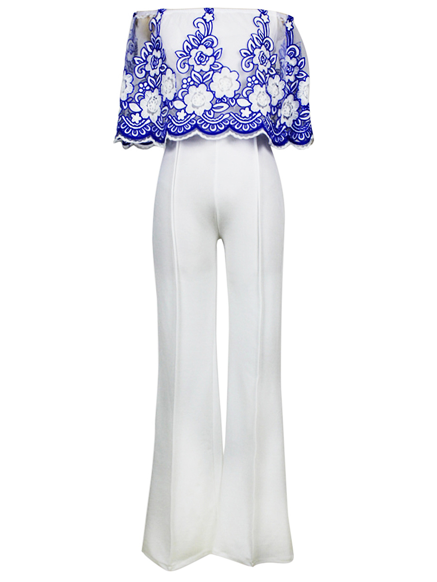 Embroidery Off Shoulder Wide-Leg Jumpsuit