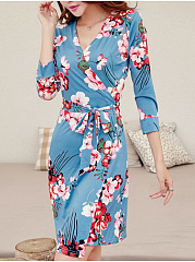 Surplice  Belt  Floral Printed Bodycon Dress