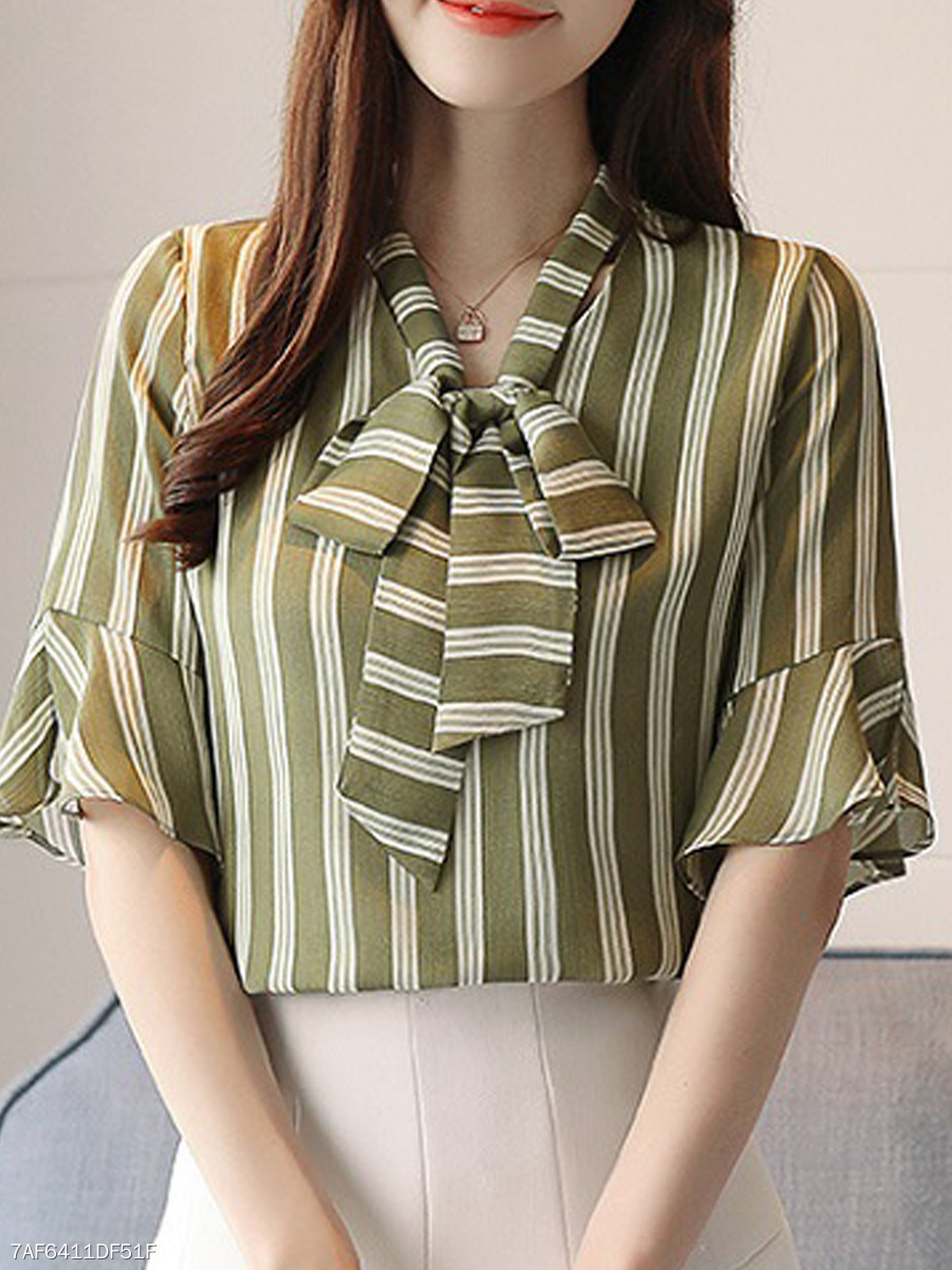 Spring Summer  Chiffon  Women  Tie Collar  Striped  Bell Sleeve  Half Sleeve Blouses