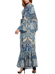 Surplice  Belt  Printed  Polyester Maxi Dress