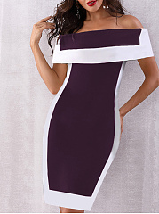 Word Collar  Patchwork  Color Block Colouring Bodycon Dress