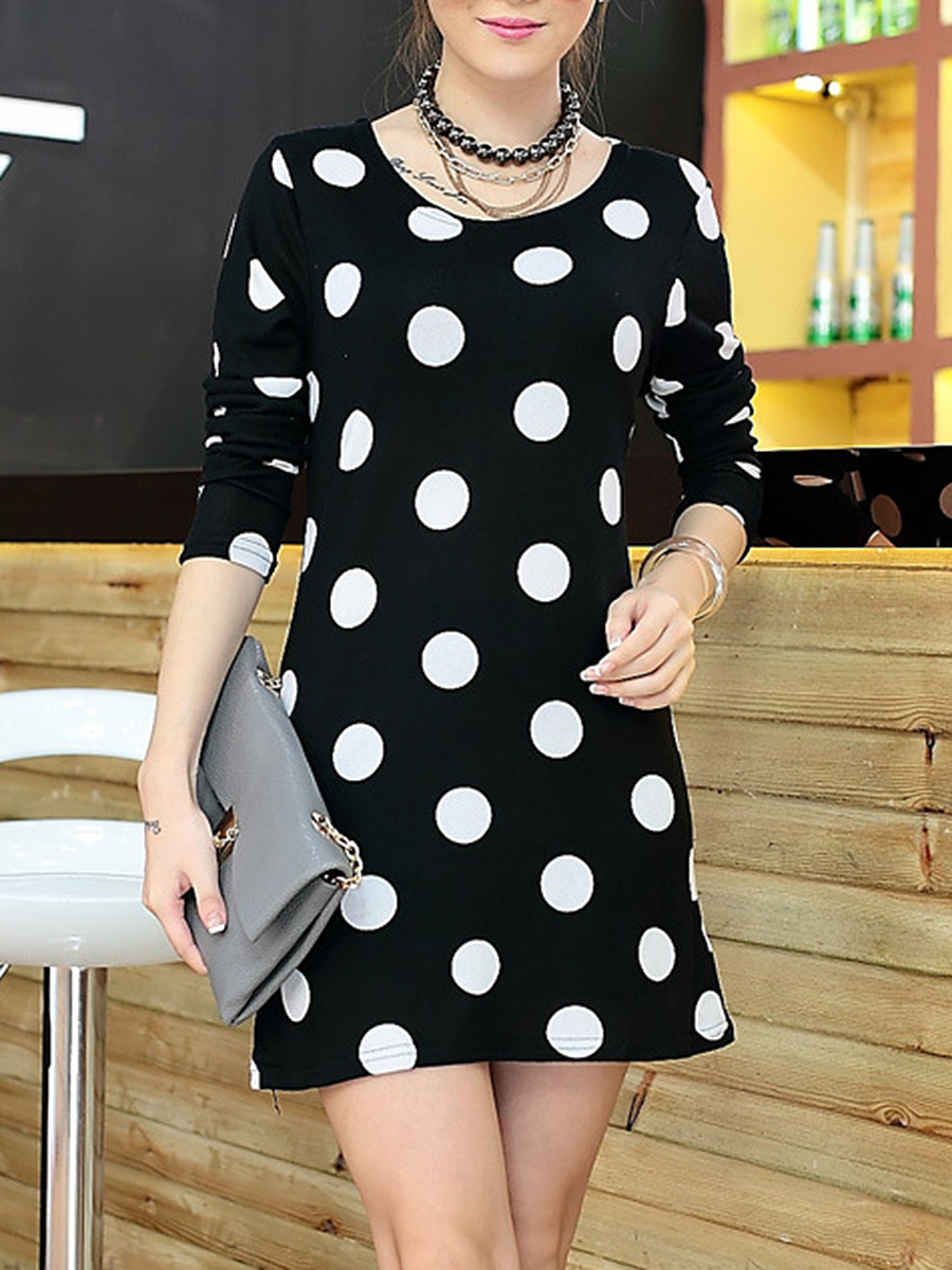 Round Neck  Polka Dot  Blend Bodycon Dress