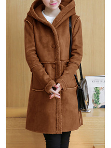 Hooded  Patch Pocket Single Breasted  Plain Coats