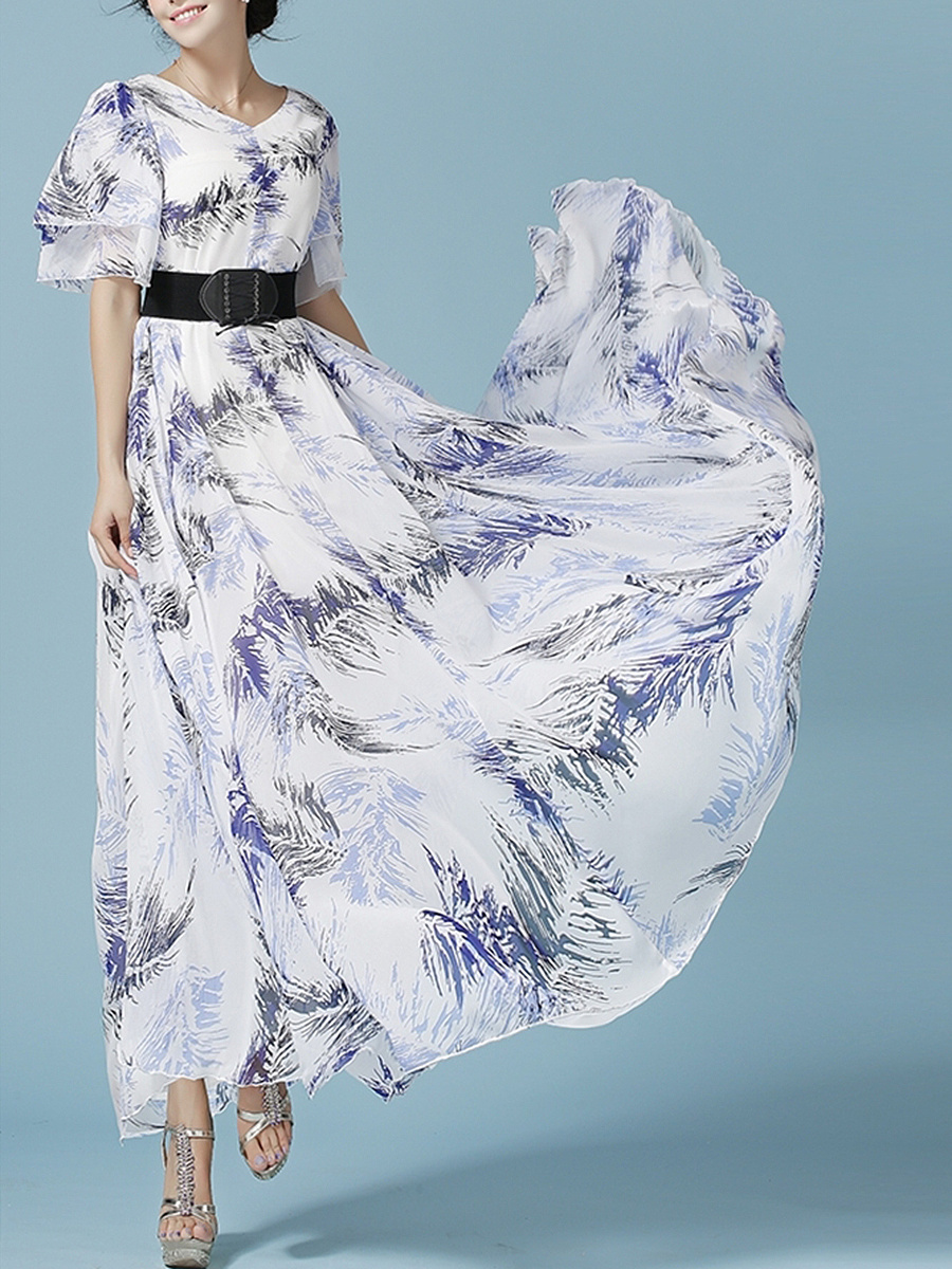 V-Neck  Belt  Printed  Chiffon Maxi Dress