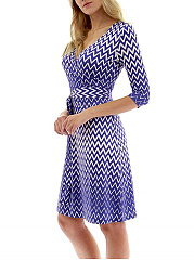 Surplice  Removable Tie  Printed Skater Dress