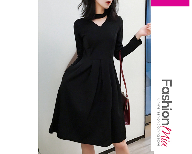 thickness:regular, brand_name:fashionmia, style:elegant*fashion*vintage, material:polyester, collar&neckline:round neck, sleeve:long sleeve, pattern_type:plain, length:knee-length, how_to_wash:cold gentle machine wash, supplementary_matters:all dimensions are measured manually with a deviation of 2 to 4cm., occasion:date*event*nightout*party*semi-formal*vacation, season:autumn*spring*winter, dress_silhouette:flared, package_included:dress*1, bust:84,