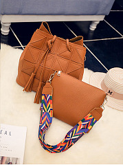 Two Pieces Striped Strap Shoulder Bag