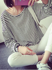 Autumn Spring  Cotton  Women  Round Neck  Striped Long Sleeve T-Shirts