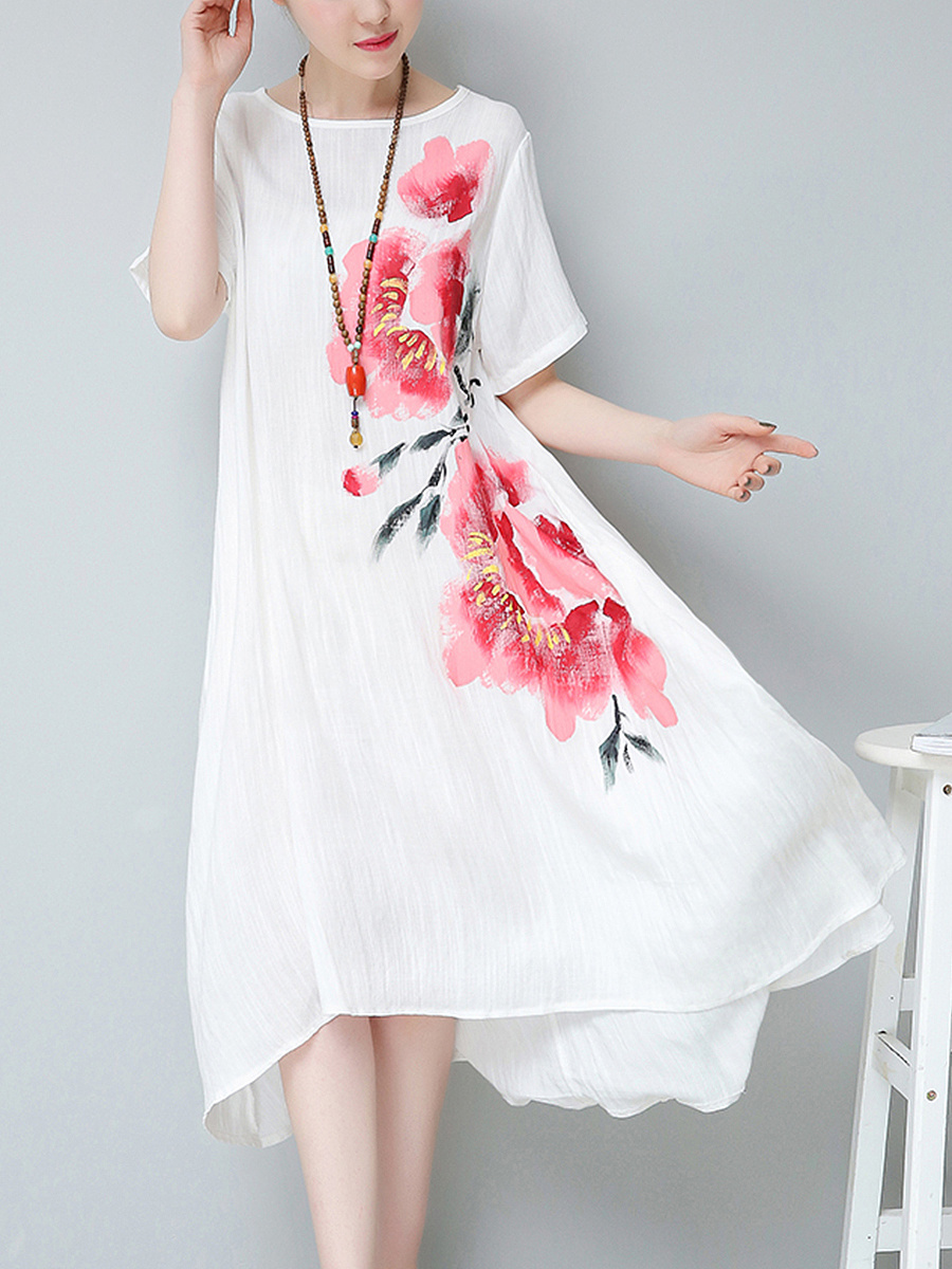 Round Neck Chinoiserie Floral Printed Maxi Dress
