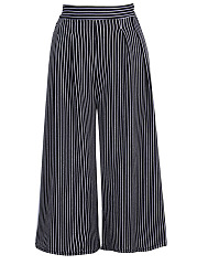 Vertical Striped Cropped Wide-Leg Casual Pants
