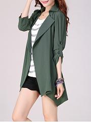 Fold-Over-Collar-Plain-Roll-Up-Sleeve-Cardigan