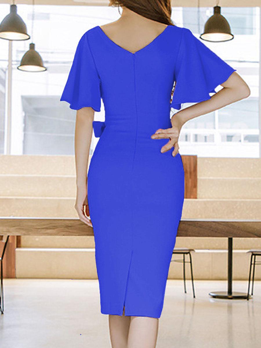 Surplice  Plain Bodycon Dress