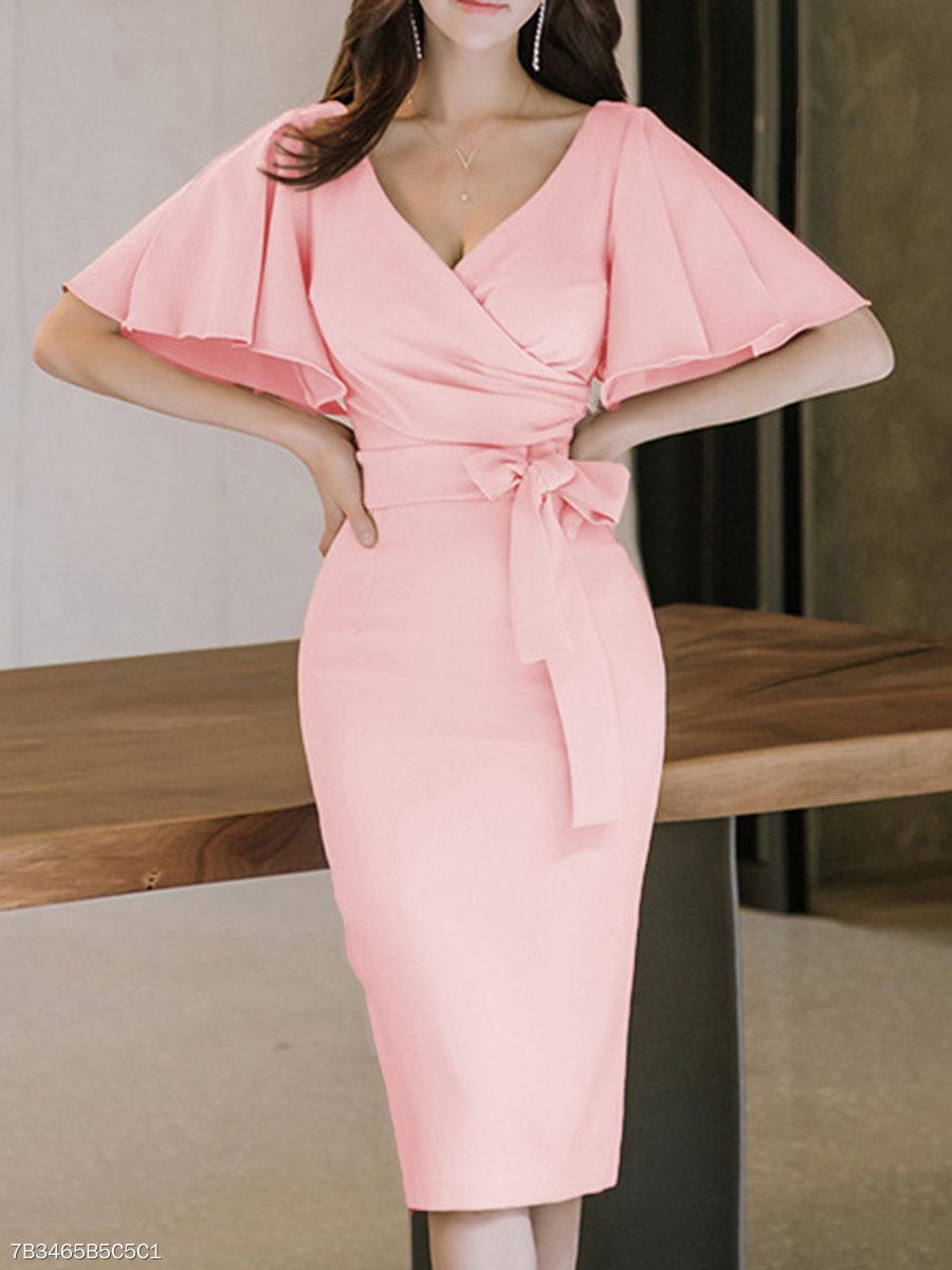 ae6c62333 Surplice Plain Bodycon Dress - fashionMia.com