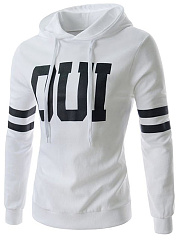 Drawstring Letters Striped Men Hoodie