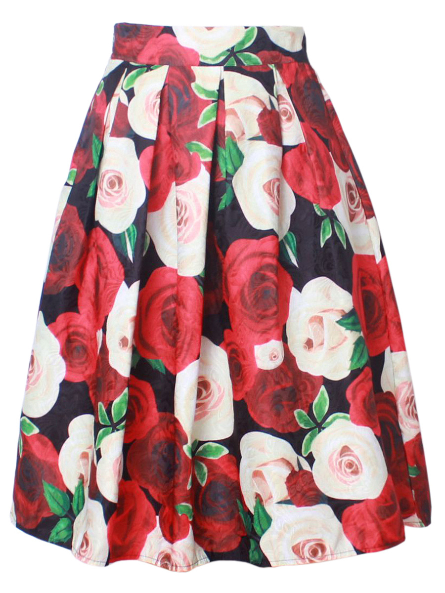 Floral Printed Inverted Pleat Flared Midi Skirt