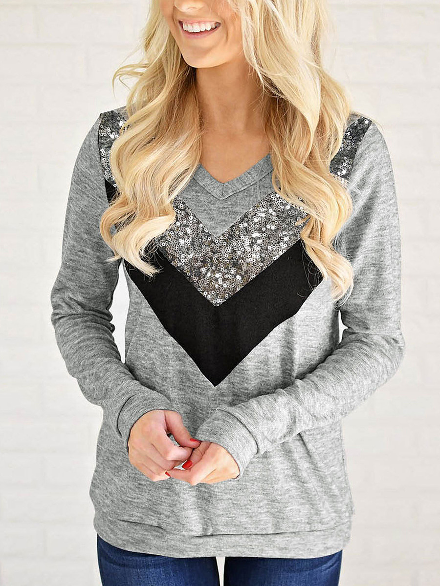 V-Neck Sequin Color Block Long Sleeve T-Shirt