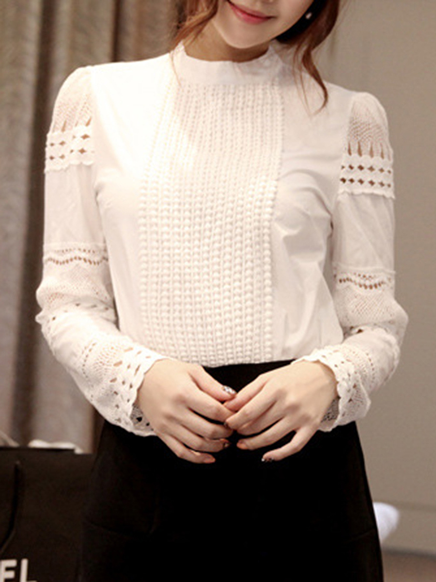 Band Collar  Hollow Out Plain Blouse
