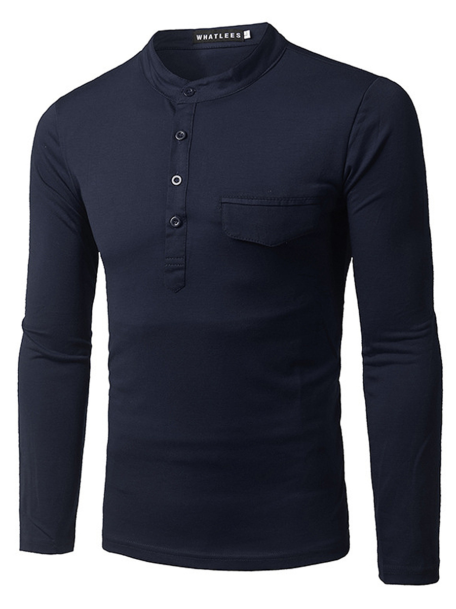 Men Band Collar Plain Long Sleeve T-Shirt