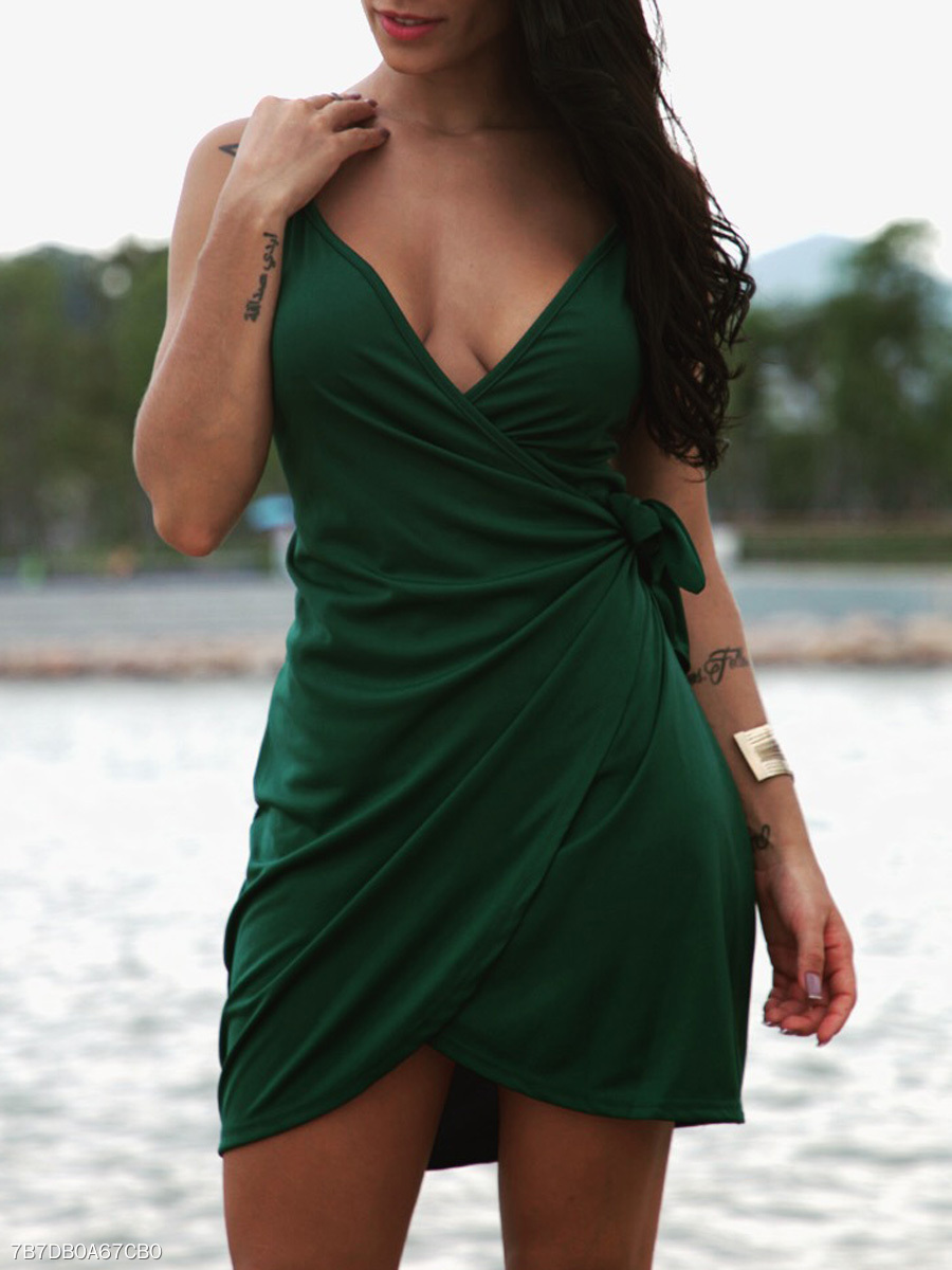 Spaghetti Strap  Lace-Up Slit Bodycon Dresses