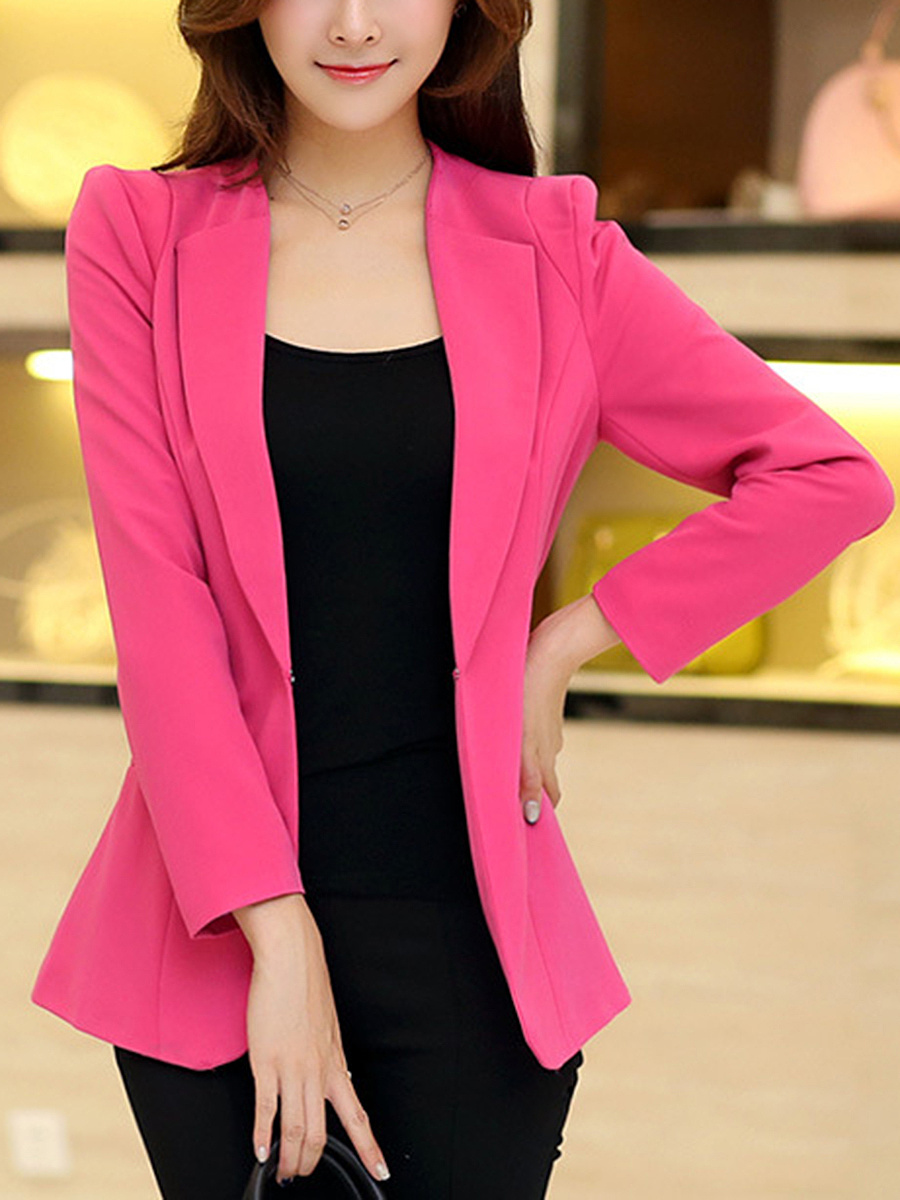 Lapel  Single Button  Plain Blazer