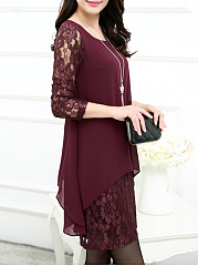 Hollow Out Plain Patchwork Chiffon Lace Shift Dress