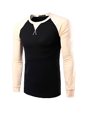 Color Block Round Neck Men Shirt