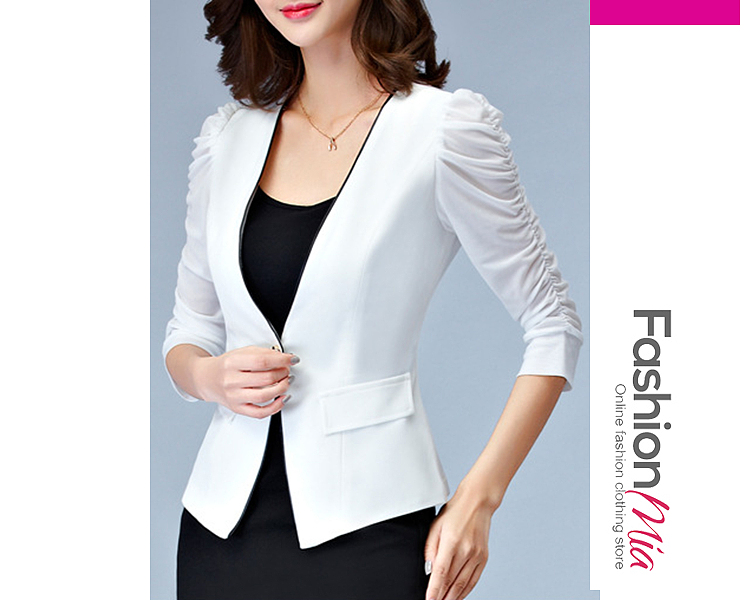 material:polyester, sleeve_type:puff sleeve, sleeve:three-quarter sleeve, embellishment:patchwork, more_details:single button, pattern_type:hollow out*plain, how_to_wash:hand wash only, occasion:office, season:autumn, package_included:top*1, length:56,shoulder:37,sleeve length:37,bust:80,