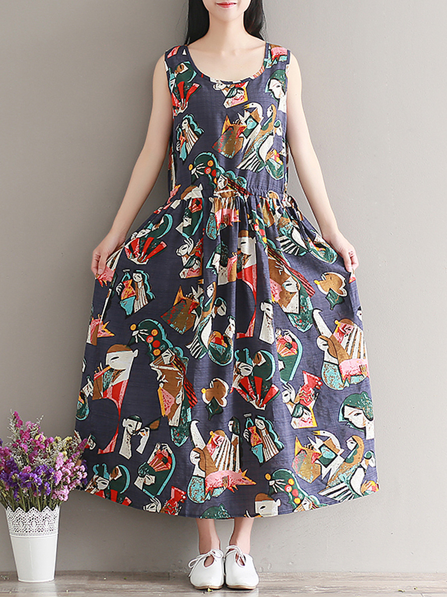 Round Neck Drawstring Cartoon Printed Maxi Dress