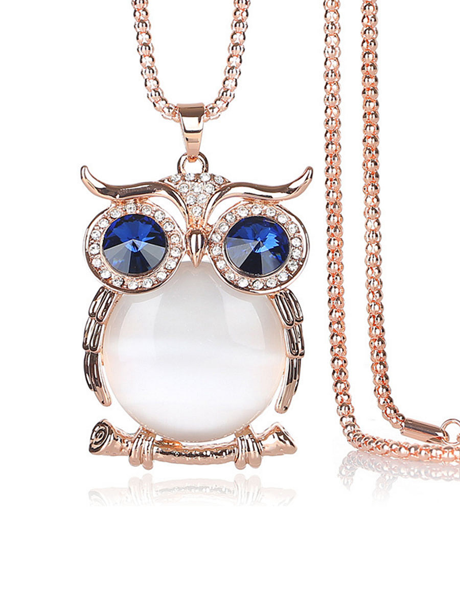 Opal Owl Shape Long Necklace