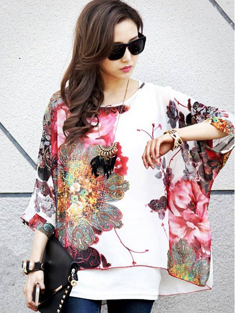 Loose FittingRound Neck Printed Batwing Short Sleeve T-Shirt