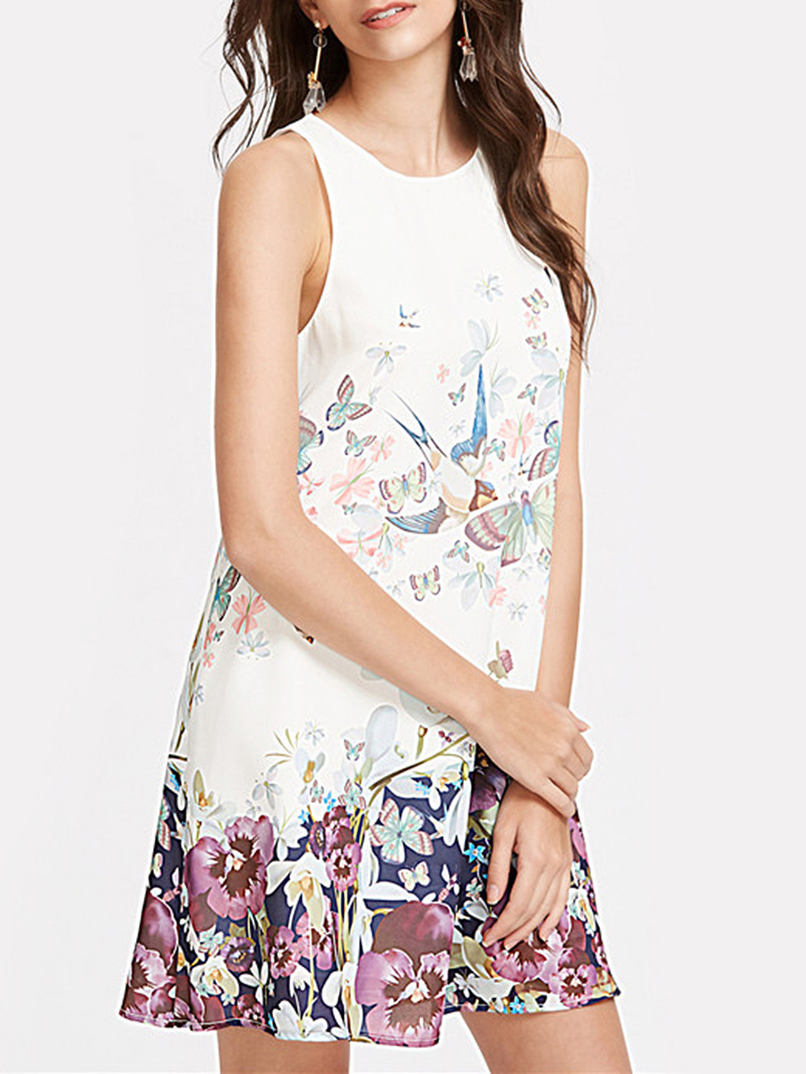 Floral Printed Sleeveless Round Neck Shift Dress