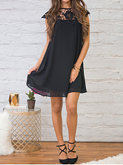 Plain Round Neck  Decorative Lace Shift Dress