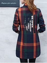 Plaid Longline Letters Long Sleeve T-Shirt