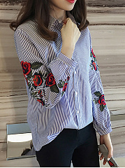 Autumn Spring  Cotton Blend  Women  Turn Down Collar  Embroidery  Long Sleeve Blouses