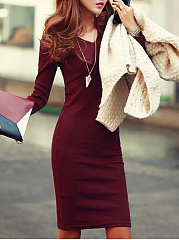 V-Neck  Plain  Blend Bodycon Dress