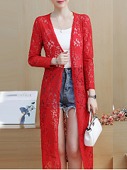 See-Through  Floral Hollow Out Plain  Long Sleeve Cardigans
