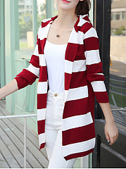 Hooded  Striped Knit Cardigans