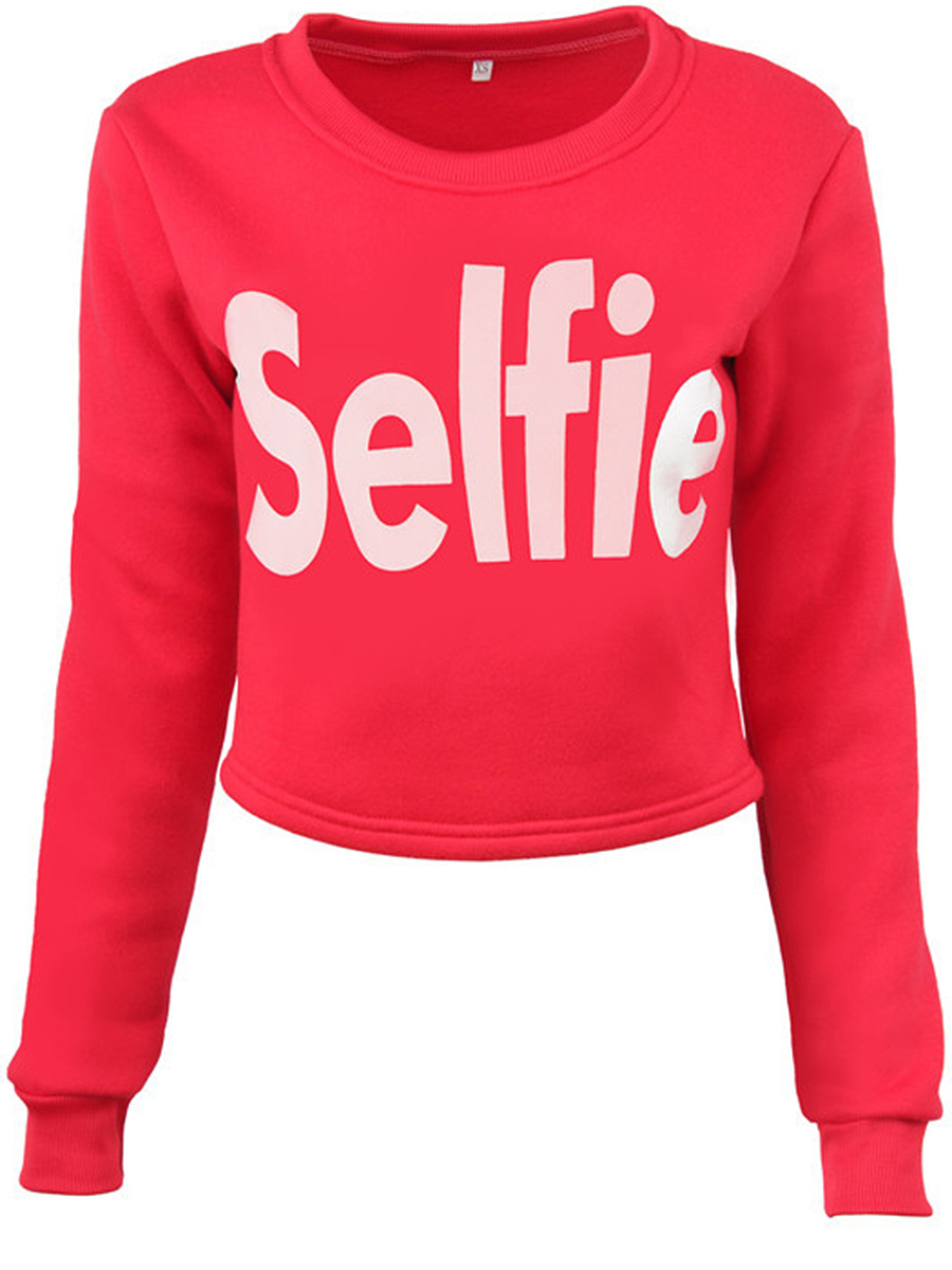 Round Neck Letters Printed Cropped Sweatshirt