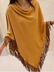 Fringe  Plain  Sleeveless Cape