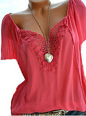 Summer  Polyester  Women  Asymmetric Neck  Decorative Lace  Plain  Short Sleeve Blouses