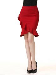 Flounce-Fishtail-Hem-Plain-Mermaid-Midi-Skirt