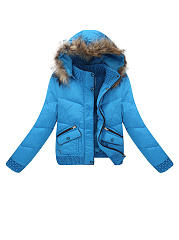 Casual Hooded  Flap Pocket  Quilted Padded Coats