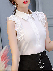 Summer  Polyester  Women  Turn Down Collar  Flounce  Decorative Button  Plain  Sleeveless Blouses