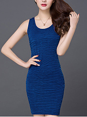 Round Neck Embossed Plain Mini Bodycon Dress