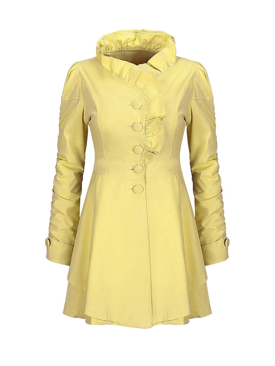 Ruffle Trim Band Collar Single Breasted  Plain Trench Coat