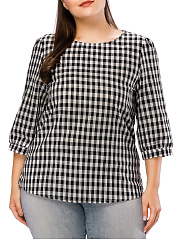 Round Neck  Plaid  Half Sleeve Plus Size Blouses