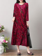 Round Neck  Plain  Velvet Maxi Dress